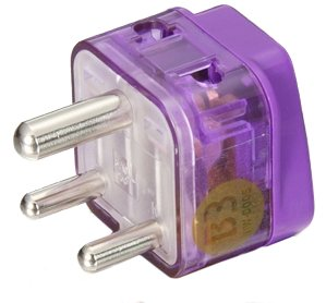 HIGH QUALITY AC POWER TRAVEL ADAPTER PLUG FOR INDIA and more / WITH DUAL PLUG-IN PORTS AND SURGE...