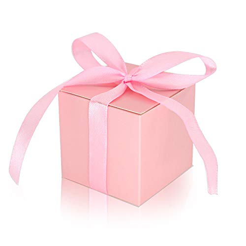 KPOSIYA 100 Pack Favor Boxes 2x2x2 inch Candy Boxes Pink Gift Boxes with Ribbons for Wedding Baby Shower Decorations Birthday Party Supplies (Pink, -