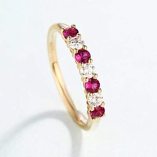 e42c27bbdb9862 Natural Genuine Red Ruby Diamond Wedding Ring Band Engagement Rings Solid  14k Yellow Gold Women Birthstone Stacking Matching Jewelry Bridal Promise  ...