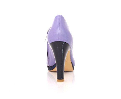 Stivaletti Alla Caviglia Tacco Largo 9 Cm Lavanda Viola Nappa Color Lavanda Viola