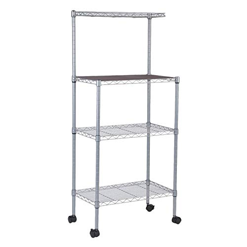 xinhuiqiong Microwave Oven Stand with Wheels 3-Tier Removable Kitchen Baker's Rack