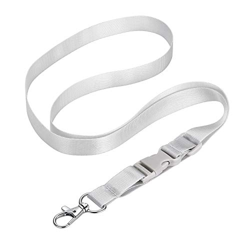 White Gray Lanyard Soft Nylon Neck Strap, Length Adjustable 14'' to 21'' Quick Release Buckle for Badge ID Holder Keys Whistle Cell Phone