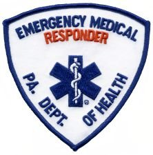 EMERGENCY MEDICAL RESPONDER - Red/ Blue - Star of Life - Shoulder - PA. DEPT. OF HEALTH - Pennsylvania Department of Health - Logo T shirt Jacket Uniform Patch Sew Iron on Embroidered Sign Badge (Dept Embroidery Fire)