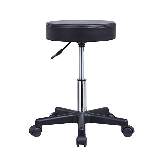 KKTONER Round Rolling Stool PU Leather Height Adjustable Swivel Drafting Work SPA Medical Salon Stools Chair with Wheels Black