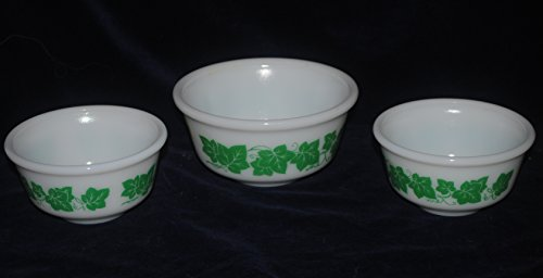 Set of 3 Hazel Atlas Green Ivy Milk Glass Small Mixing Bowls