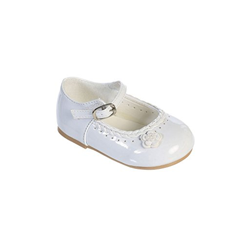 Tip Top Kids Girls White Braided Edging Flower Patent Leather Mary Jane Shoes 4 Baby