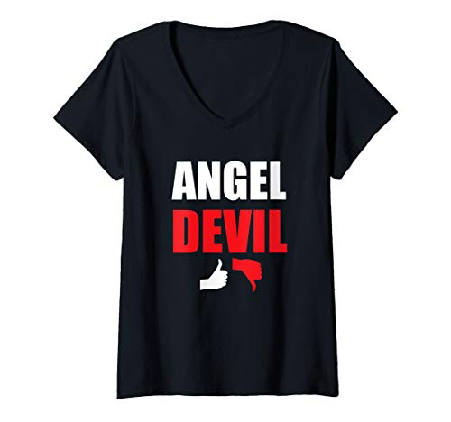 Womens Angel Devil Tee Good or Bad Multiple Personalities Graphic V-Neck T-Shirt