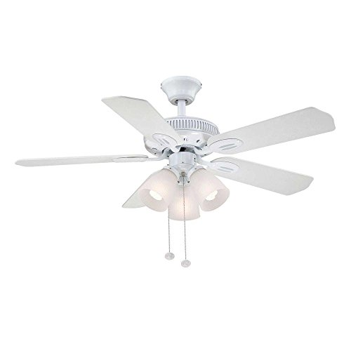 Hampton 42 Inch (Hampton Bay AM212-WH Glendale 42 in. Indoor White Ceiling Fan with Light Kit)