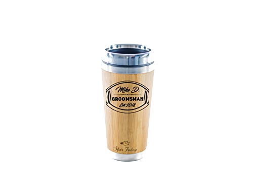 Personalized Stainless Steel Bamboo Coffee Tumbler | Bamboo