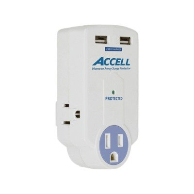 2NZ7274 - Accell Travel Surge Protector with Dual USB Charging