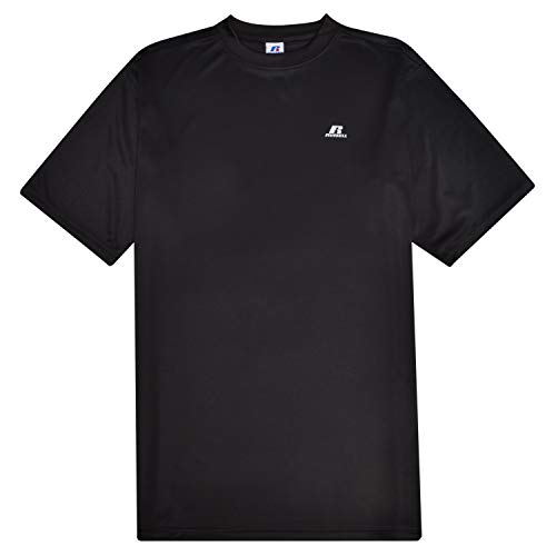 - Russell Athletic Men's Short Sleeve Exercise Workout T Shirt Polyester Crew with Left Chest Black 5X