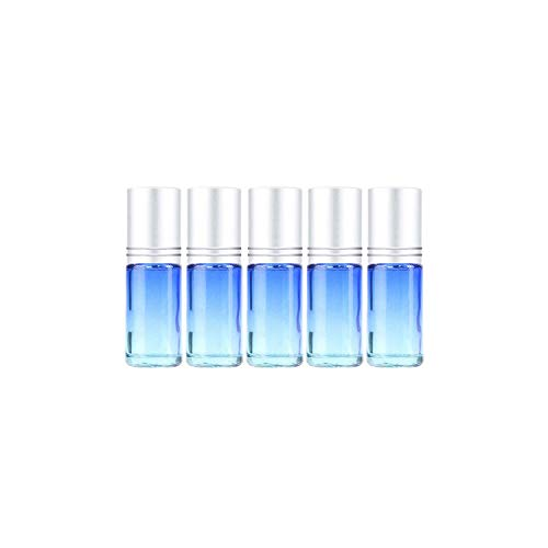(5pcs 10ML/5ML Gradient Color Thick Glass Roll On Essential Oil Empty Parfum Bottles Roller Ball Travel Use Necessaries,02 5ML 5PCS)