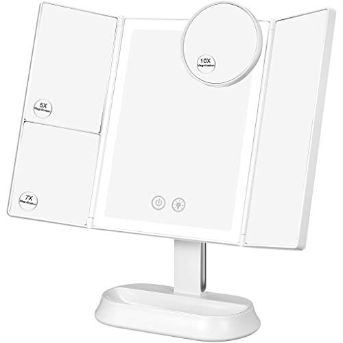Ovonni Makeup Mirror Vanity Mirror LED Lighted Tri-Fold Mirror with 3 Color Lighting Modes 1X 5X 7X 10X Magnification 90 Rotation Portable Cosmetic Mirror Touch Screen Dual Power Supply white