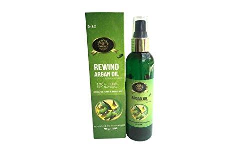 Dr A-Z Rewind Argan Oil 4 fl. Oz, Virgin USDA Organic Pure Moroccan, Certified Organic, Cold-Pressed, For Hair, Face, Body , Nails , Convenient Pump -  Bulk Apothecary 125 Lena Dr Aurora Ohio 44202 USA, J-03