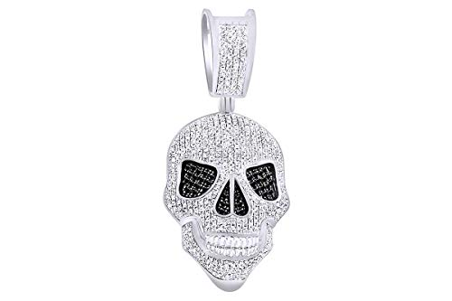 White Diamond Skull Pendant - 1 Cttw Round Black & White Natural Diamond Iced Out Hip Hop Jewelry Skull Pendant In Sterling Silver