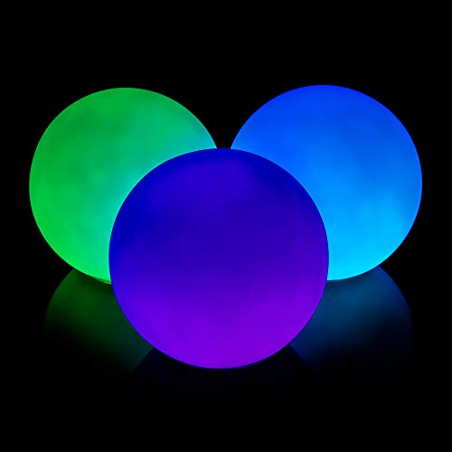 GloFX 78 mm Professional LED Juggling Balls Pro Weighted Set of 3 Light Up Glow in The Dark Ball Juggle - Led Balls Juggling