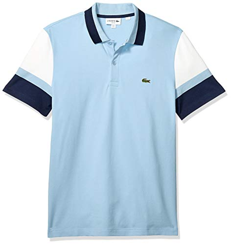 - Lacoste Men's S/S Colorblock Strech Pique Slim FIT Polo, Creek/Flour/Navy Blue, Small