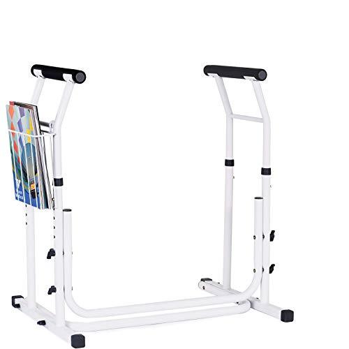Vaunn Medical Bathroom Adjustable Height Toilet Rail Grab Bar and Commode Safety Frame Handle (Chairs Rail)