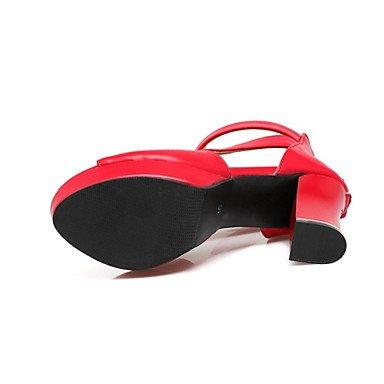 LvYuan Tacón Robusto-Confort Innovador Zapatos del club-Sandalias-Boda Vestido Informal-Materiales Personalizados Semicuero-Negro Rojo Blanco Red