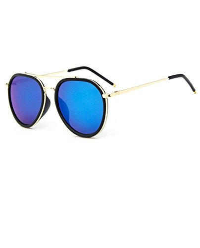 Konalla Retro Full Frame Aviator Flash Lens UV Protective Sunglasses - Sunglasses Tuscany