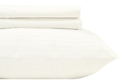 Royal's Striped White 500-Thread-Count 4pc King Bed Sheet Set 100-Percent Cotton, Sateen, Deep Pocket