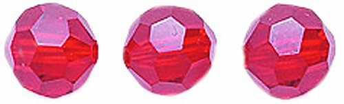 Swarovski #5000 Faceted Round Beads, Transparent Finish, 6mm, Light Siam 10-Pack