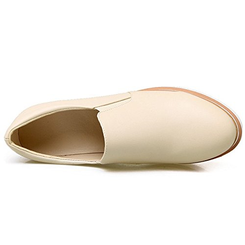COOLCEPT Women Fashion Slip On Court Shoes Closed Toe Pumps Height Increasing Shoes Beige 0ojvko8jy