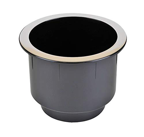 ProFurnitureParts Black Plastic Cup Holder W/Chrome Rim for Sofa Recliner Boat RV Patio Poker Table Car Truck or Anything! (2) (Best Rims For Black Car)
