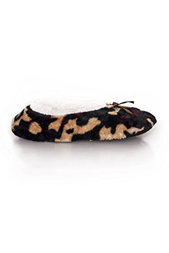 Women's Sherpa Leopard with Lining Tan Slippers Style Printed Ballet ICONOFLASH BnZdSqS