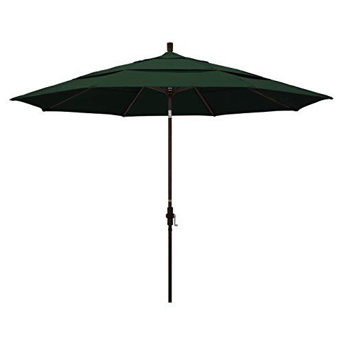 California Umbrella 11′ Round Aluminum Market Umbrella, Crank Lift, Collar Tilt, Bronze Pole, Pacifica Hunter Green For Sale