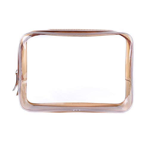 Women Transparent Cosmetic Bag Clear Zipper Travel Make Up Case Makeup Beauty Organizer Storage Pouch Toiletry Wash Bags,Brown,L (Vwr Closure)