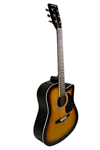Full Size Sunburst Cutaway Acoustic Guitar with Free Carrying Bag - (Guitar, Case, & DirectlyCheap(TM) Translucent Blue Medium Guitar Pick) (PRO-C Series) [Teacher Approved] by DirectlyCheap
