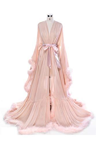 BBCbridal Women Sexy Feather Long Wedding Scarf Illusion Nightgown Robe Perspective Sheer Bathrobe Sleepwear A Blush L/XL]()