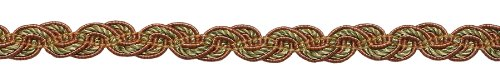 Lt Bronze, Olive Green, Terracotta Baroque Collection Gimp Braid 1/2