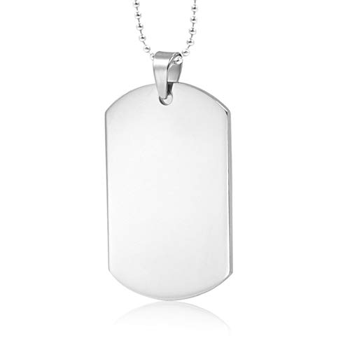 Nanafast Personalized Custom Stainless Steel Dog Tags Pendant Necklace/Keychain Men Father Husband Gifts-Free Engraving -