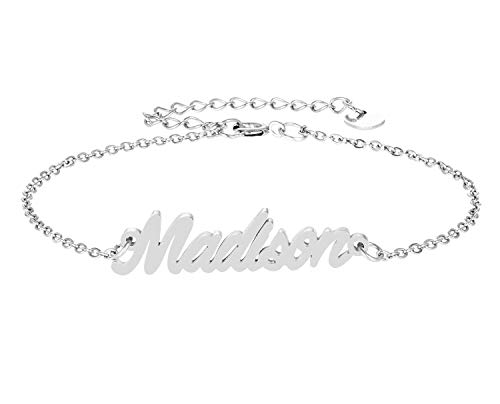 HUAN XUN Madison Name Bracelet for Womens Girls Jewelry Gifts Stainless - Silver Name Sterling Bracelet