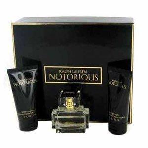 Ralph Lauren Notorious 3-piece Fragrance Gif Set for Women: Notorious Eau de Parfum natural Spray, 50 ml/ Body Moisturizer, 50 ml/ Shower Gel, 50 ml