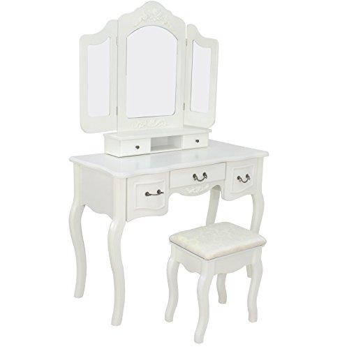 ZENY Tri Folding Mirror Vanity Makeup Dressing Table Cushion