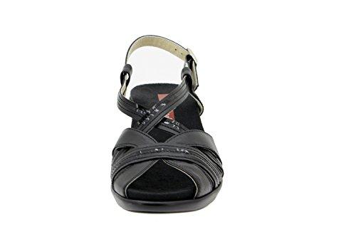 Calzado mujer confort de piel Piesanto 2867 sandalia plantilla extraíble zapato cómodo ancho Negro