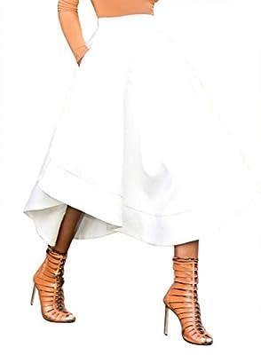 Dokotoo Womens High Waist A Line Midi Pleated Skater Skirt Dresses