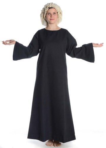 Baumwolle Mittelalter XL mit Damen HEMAD Schwarz mit Skapulier Rot Damenkleid S schwarz Leinenstruktur Kleid 1Rx5qw8