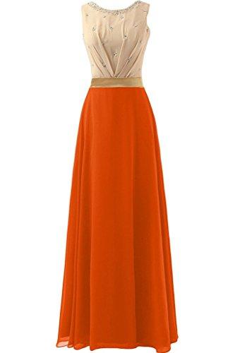 sunvary 2016Nuevo a-line Scoop cristales Prom Vestido Noche Fiesta de Gasa naranja