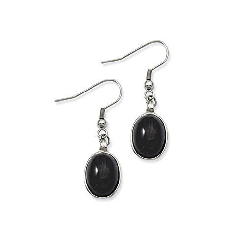 Black Agate Oval Cabochon Dangle Earrings in Stainless Steel