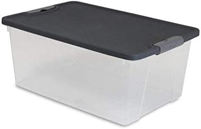 HOMZ Snaplock Clear Storage Bin with Lid, Small Latching-15 Quart, Grey, 4 Pack