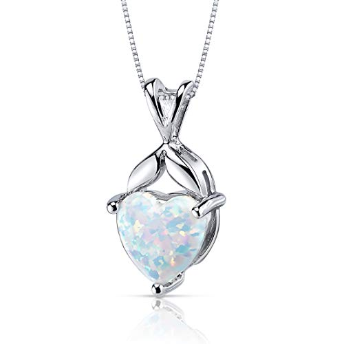 Created Opal Pendant Necklace Sterling Silver Heart Shape 2.50 Carats ()