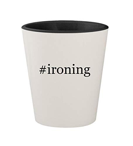 #ironing - Ceramic Hashtag White Outer & Black Inner 1.5oz Shot Glass