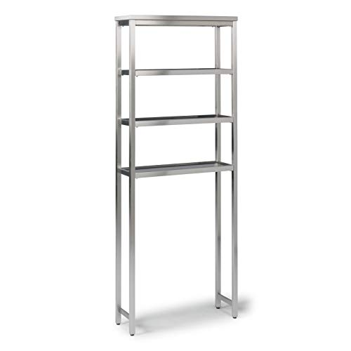 """Home Styles 5617-106 Bold Over The Commode Storage Shelf/Bath Stand, W-25"""", D-8 ½"""", H-64"""", Stainless Steel"""