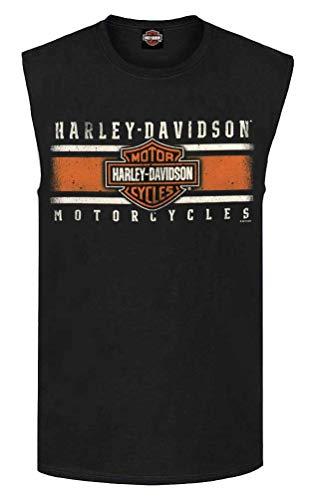 Iconic Muscle Tee - Harley-Davidson Men's Custom Iconic Sleeveless Crew Muscle Tee - Black (L)
