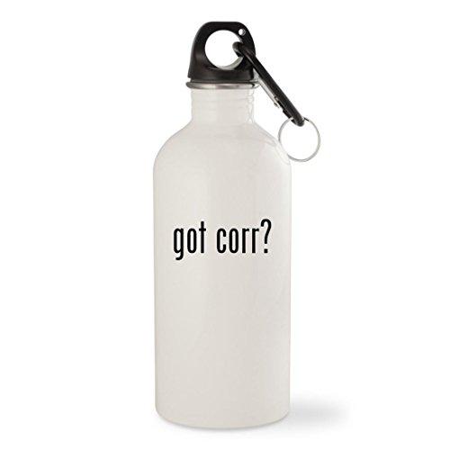 Corr Vinyl (got corr? - White 20oz Stainless Steel Water Bottle with Carabiner)