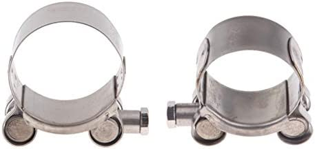 D DOLITY 2pcs 44-47mm//1.73-1.85 inc Heavy Duty Exhaust Band Clamp Reolacement for Motorcycle Universal Stainless Steel